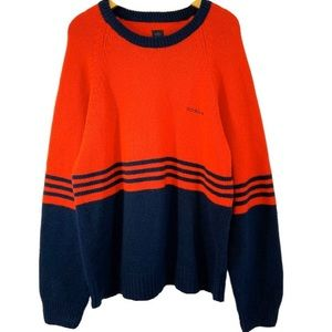 Adidas Rare Red & Navy Striped Oversize Sweater